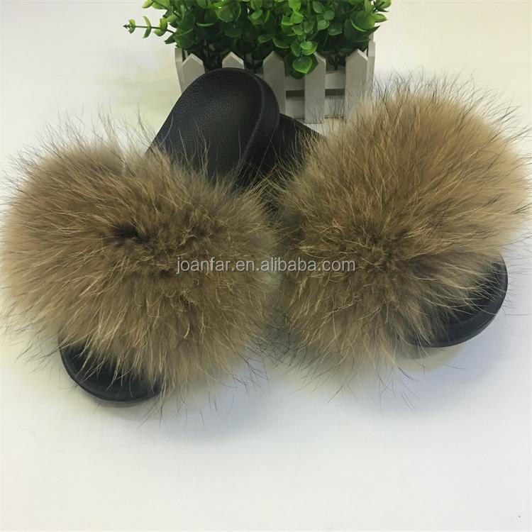 Joanfar Wholesale New Design Women Luxury Fur Slides With Real Silver Fox Fur Slippers for Traveling Summer Fur Sandals