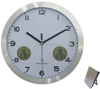 Aluminum wall mounted digital clocks with outdoor temperature