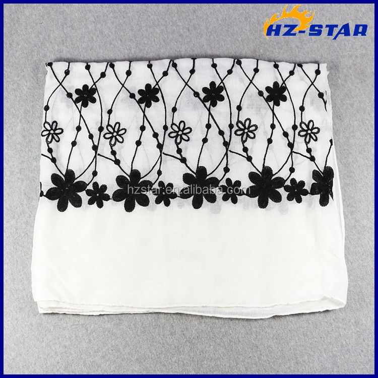 HZW-16085001 Very beautiful embroidery black flower viscose and cotton scarf
