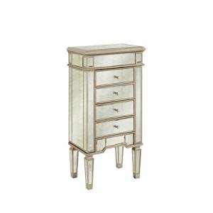 "Elegant Lighting Florentine 4-Drawer Jewelry Armoire with Silver/Antique Mirror, 20"" by 15"" by 40"""