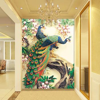 Self Adhesive Beautiful Peacock Wall Murals Wallpapers