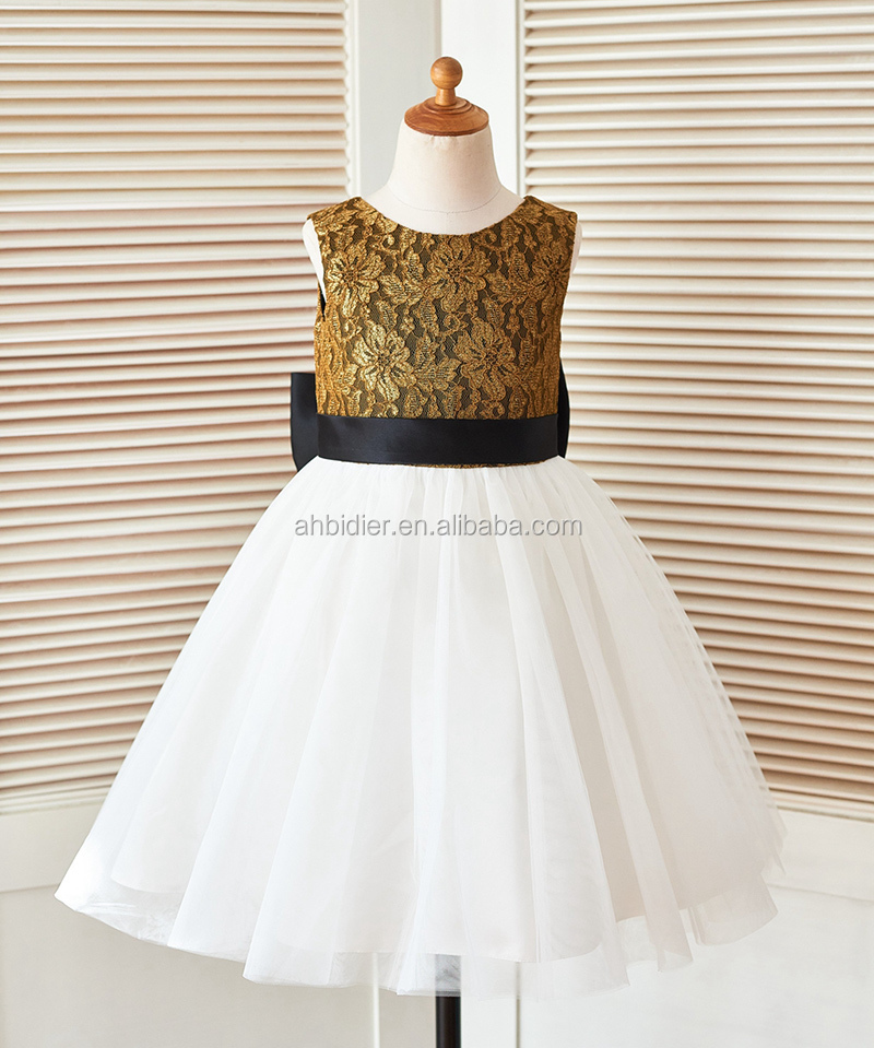 Oro Pizzo Avorio Tulle Wedding Flower Girl Dress con il Nero Grande Cintura Fiocco