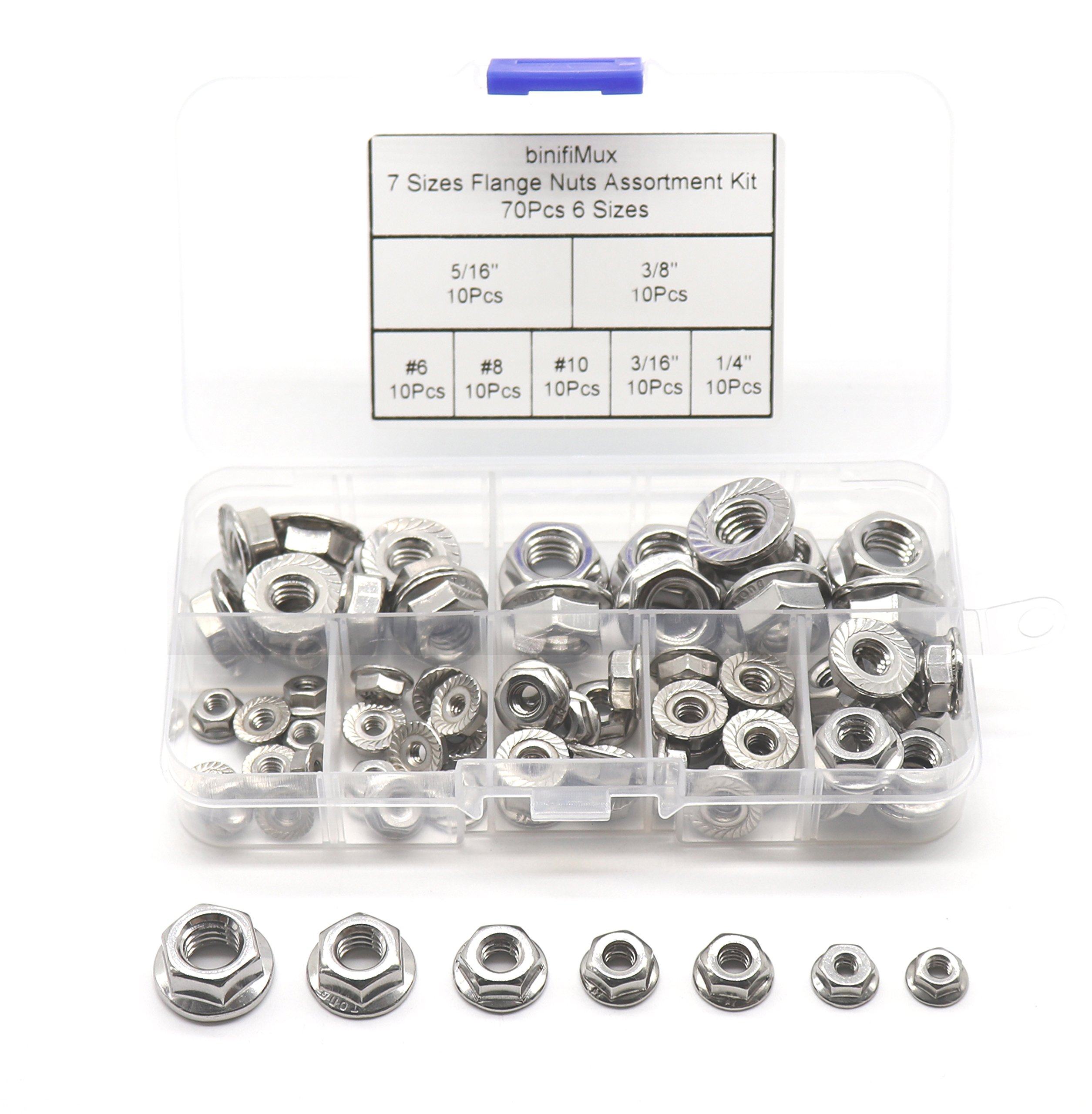 "binifiMux 70Pcs Hexagon Flange Nuts Assortment Kit(7 Sizes), 304 Stainless Steel #6#8#10, 3/16"" 1/4"" 5/16"" 3/8"""