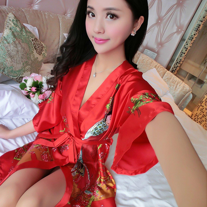 Get Quotations · JJWZAA Bathrobe Bathrobe Summer Short Sleeve Silk Nightgown  Bathrobes Nightgown Lace Bathrobes Large Size Home 06cfb5fa9