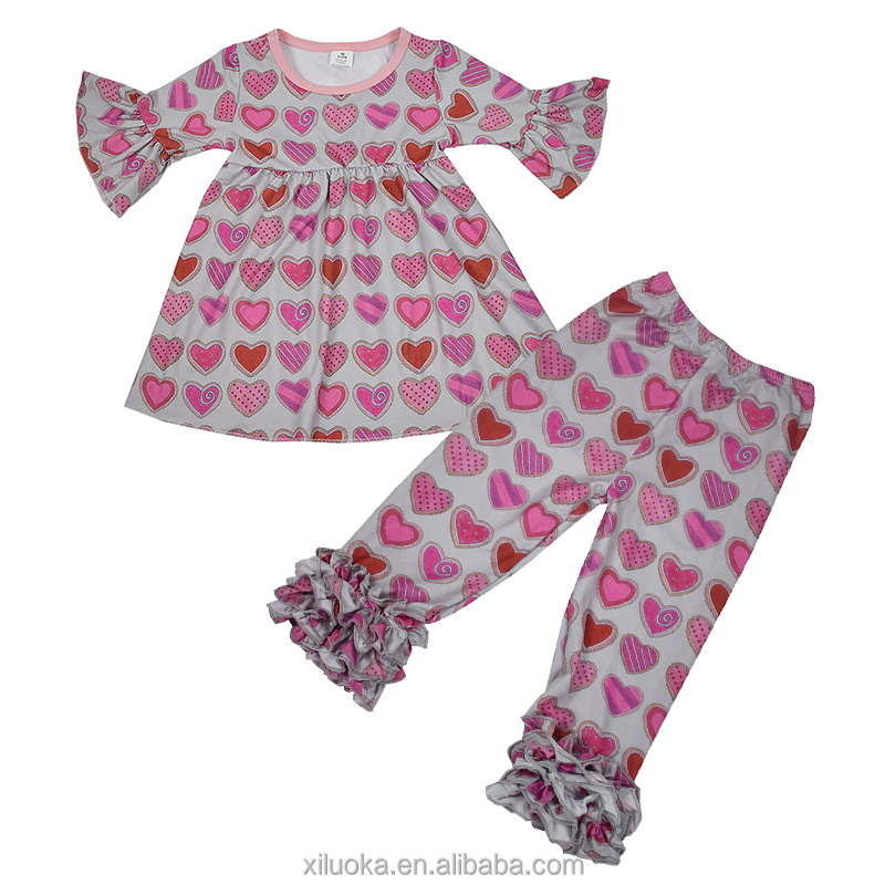 Fine Quality Organic Baby Clothes Valentine's Day Baby Outfits Love Printed Baby Girl Outfits