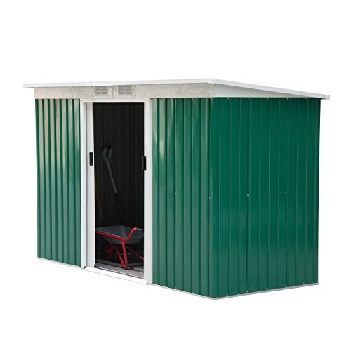 Outsunny 9' x 4' Outdoor Metal Garden Storage Shed - Green/White
