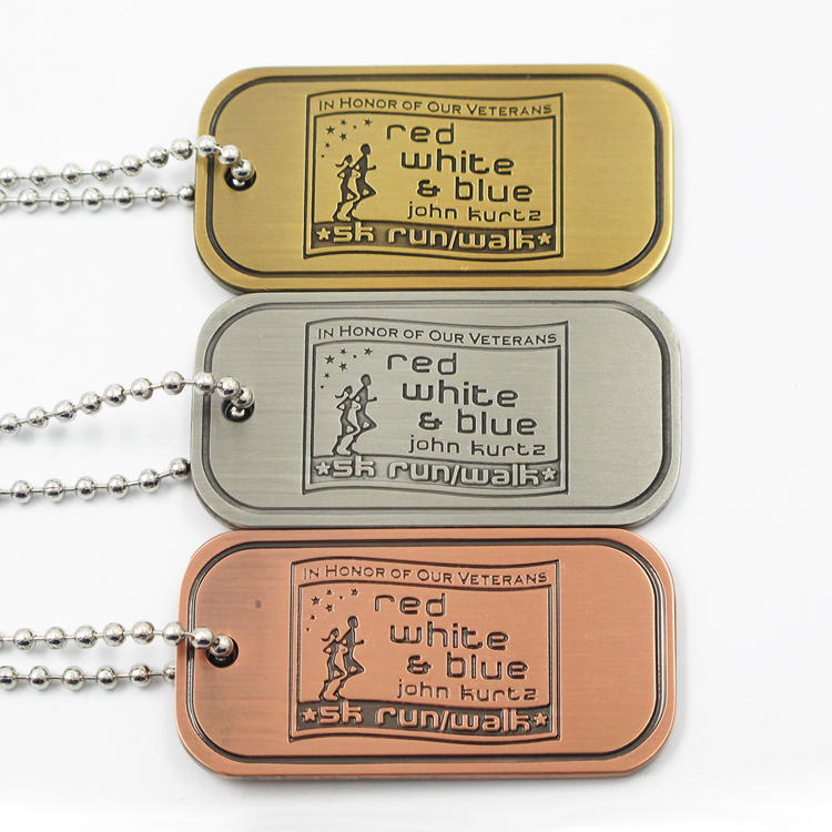 Custom antique brass plated square round rectangle zinc alloy dog label tag made in China