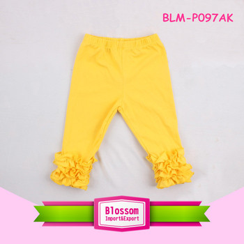Newest toddler gold cotton legging boutique children's girl ruffle icing pants