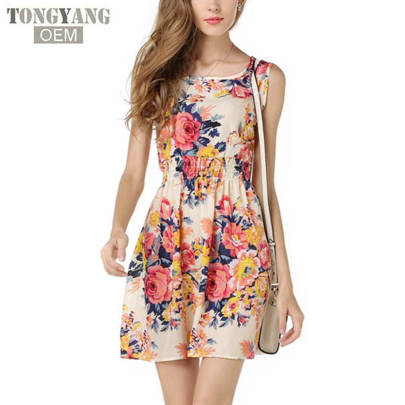 TONGYANG Summer Women Dress Ladies Print Casual Style Fashion Office Clothing Cheap Bohemian Beach Sleeveless Dress