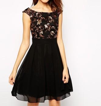 Petite Size Embellished Skater Dress For Fashion Ladies Free Size Prom  Dress Custom Made Chiffon Black Dress - Buy Plus Size Skater Dress,Korean  ...