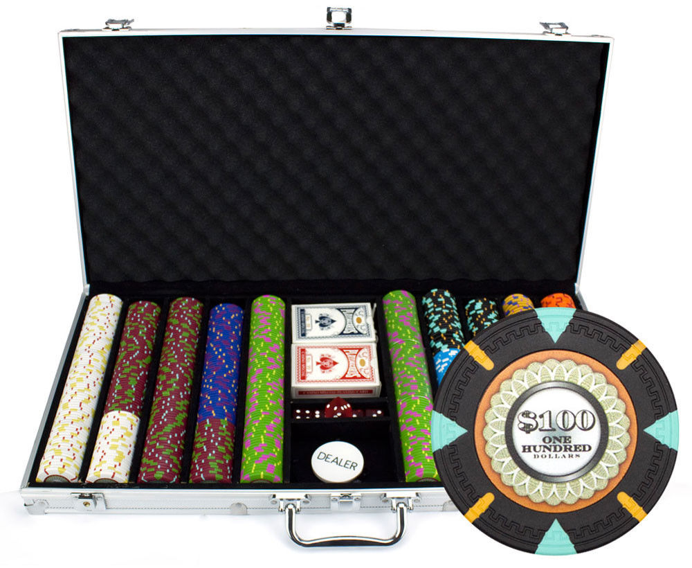 NIEUWE 750 st De Mint 13.5 gram Clay Poker Chips Set Aluminium Case