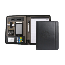 Custom 패션 양장본 business a4 gift black pu leather 양각 주최자 portfolio folders 와 zipper 폐쇄 from 공장