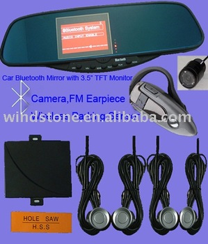 "3.5""TFT Monitor With Camera Car Bluetooth Handsfree Rearview Mirror"