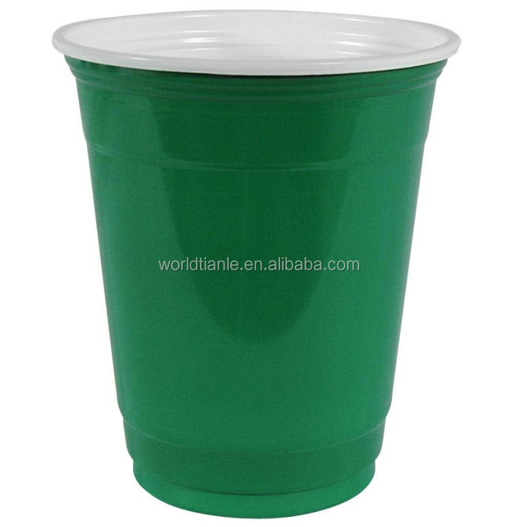 Custom PP green party cup plastic cold cup for beer