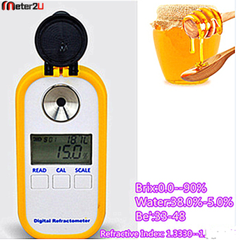 Digital honey refractometer for brix moisture and baume degree