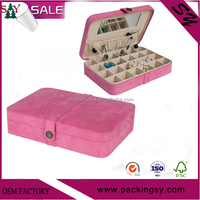 High quality Fabric 24 square jewelry box and ring case in pink