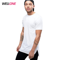 Hot sale Wellone factory fashion round bottom 220gsm pima cotton plain print design custom blank men white t shirts