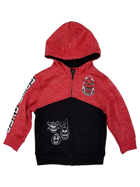 19dc1015602 Get Quotations · Five Nights at Freddy s Little Boys Red Black Zip Front  Hoodie Sweatshirt