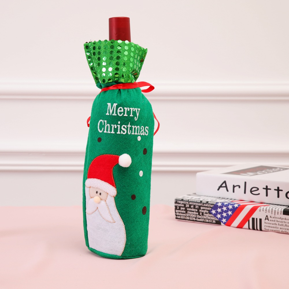 Christmas Wine Bottle Decor Santa Claus Snowman Deer Bottle Cover Clothes Kitchen Decoration for New Year Xmas Dinner Party