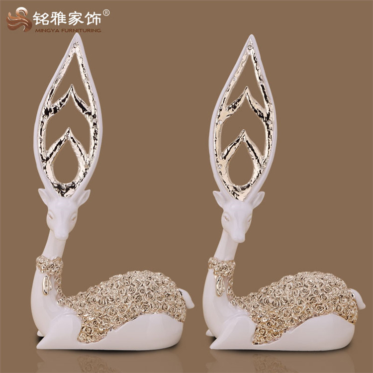 christmas decoration resin crafts fengshui resin deer wedding table centerpieces home decor resin deer