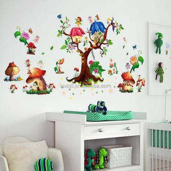 M9272 Champignon Maison Stickers Muraux Pvc Grands Arbres Fée Stickers  Muraux Pour Enfants Chambre De Bébé Décoration Autocollant - Buy  Autocollants ...