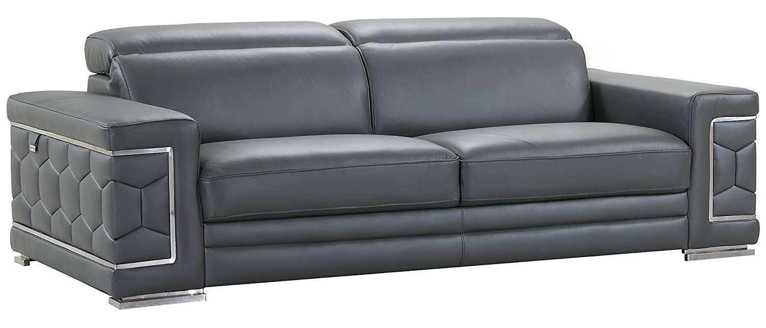 Blackjack Furniture The Usry Collection Genuine Italian Leather Upholstered Living Room Sofa Set, Dark Gray
