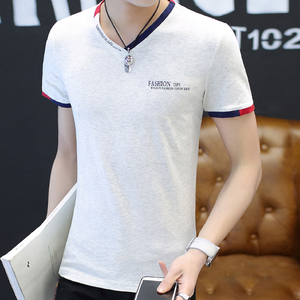Fashion OEM New Arrivals Printed Slim Fit Plain White V Neck T Shirts Men