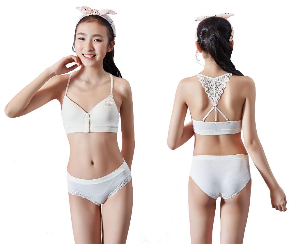 Comfortable Teen Bra Brief Set Front Closure Lace Back Bra -3909