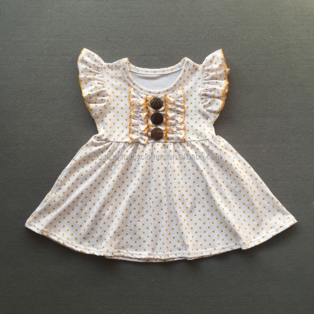 wholesale children's boutique clothing flutter sleeve baby girl dress for valentines polka dot frock designs dresses with button
