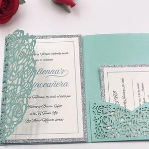 Elegant Tiffany Blue Pocket Wedding Invitation Card Laser Cut Rose Tri Fold Invitations Greeting Cards For Party Decoration