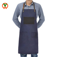 Heavy Duty Waxed Canvas Utility Apron Adjustable Shop Work Tool Welding Apron for Men