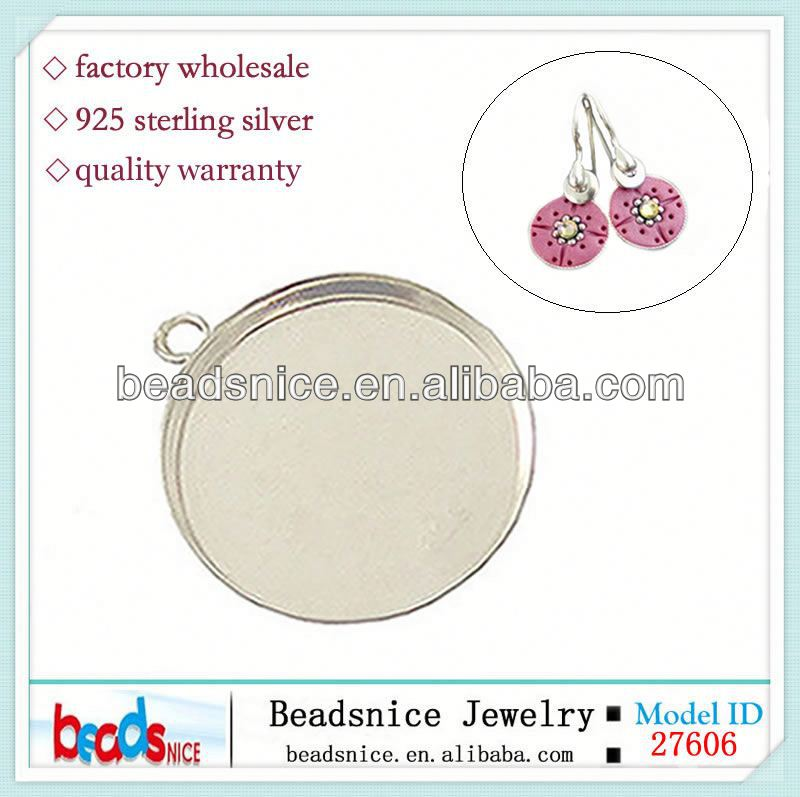 Beadsnice ID 27606 Round Bezel with ring Sterling <strong>Silver</strong> 925 Low wall for gluing pendant setting frame