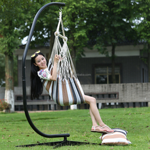 Outdoor Canvas Striped Hanging Hammock Rope Swing Seat Chair With Two Cushion( Outdoor/Indoor )