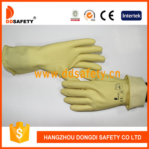 DDSAFETY Light Yellow Latex Household Unlined Gloves With Roll Cuff