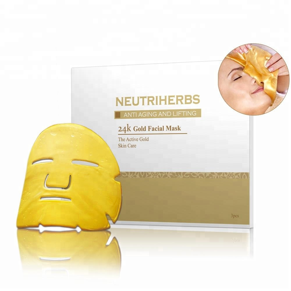 Logo personnalisé Masque De Collagène Pur 24 k Or Collagène Masque Facial Anti-Rides Blanchissant Masque Facial