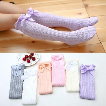 803329d6f Summer Korean Children Girls Plain Color Knee High Bow Sock - Buy ...