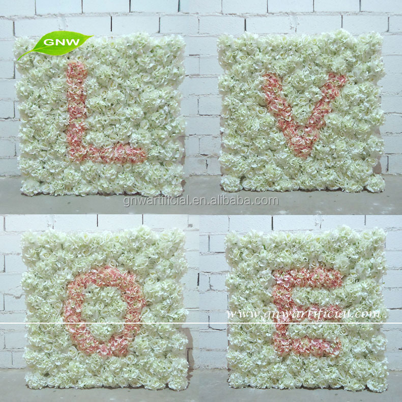 GNW FLW1508001 Artificial wedding floral Wall LOVE letter wedding backdrop decoration