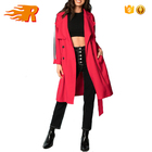 OEM Trench Wrap Long Women Coat With Stripe