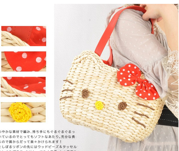 c1a9623eb0 Wholesale Girl Hellokitty Straw Handmade Mini Beach Straw Bag