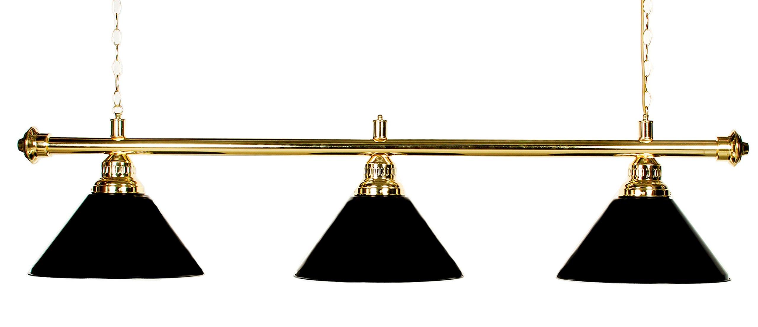 "61"" Pool Table Light - Billiard Lamp Brass Rod Choose Burgandy, Green or Black Metal Shades (brass black)"