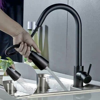 304 Stainless Steel Hot And Cold Water Flexible Hose For Kitchen Faucet With Pull-Out Spout black color kitchen sink tap