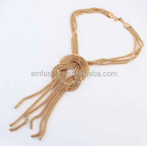 Wholesale Fashion Jewelry Street Style Gold Chain Braided Women's Necklace