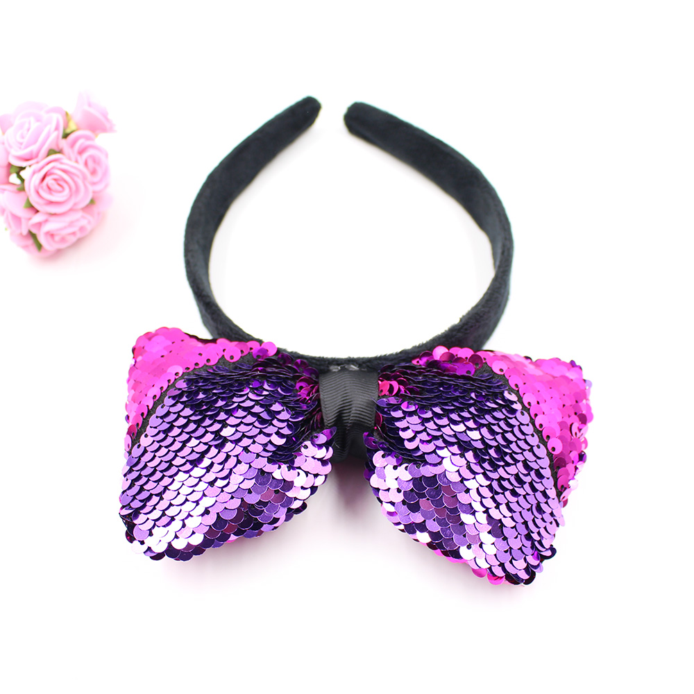 Hot Sale Mermaid Hairband with Big Bow Cute Headband for Children Wear Custom Funny Girl Sequin Headband