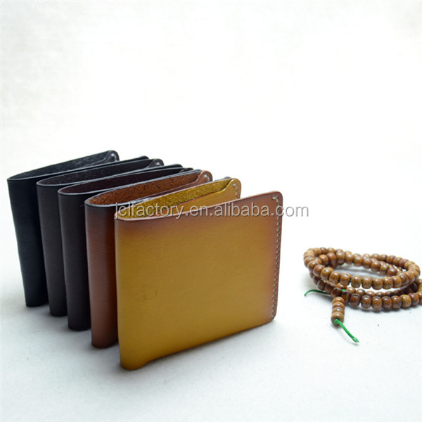 Free shipping italy tanned vegetable genuine leather handmade wallet for women and men