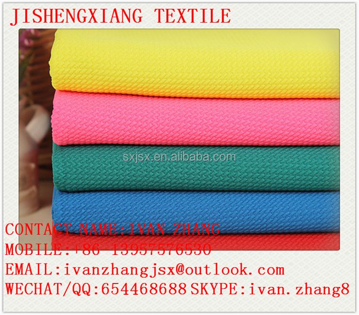 Shaoxing Jishengxiang Textile Cheap Price 97% Polyester 3% Lycra Stretched Bubble Rice Jacquard Seersucker Fabric