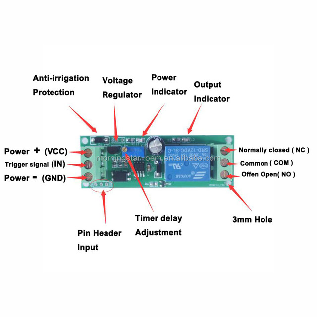 Courant Direct Réglable 12 V Signal Retard de déclenchement Turn Off Delay Timer Switch Relay Module