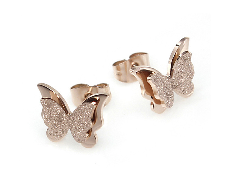 Ladies Fashion Rose Gold Stainless Steel Stud Earrings Women Fancy Cute Double Layer Dull Polish Butterfly Earrings For Girls