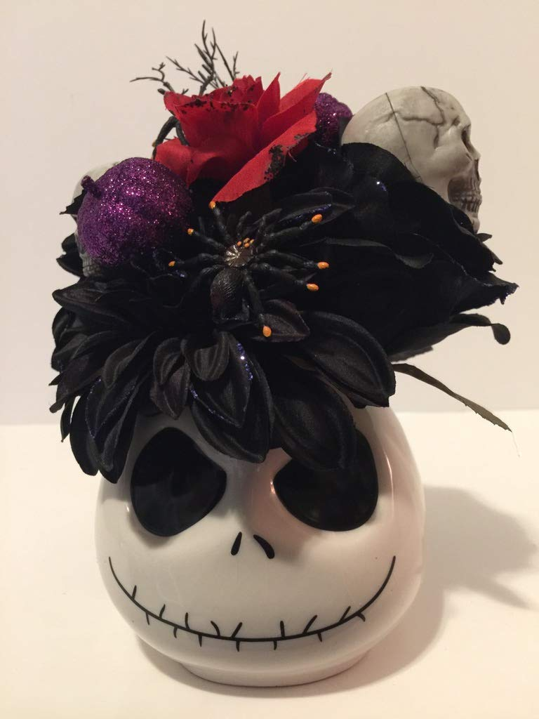 """HALLOWEEN SCARY - CERAMIC NIGHTMARE BEFORE CHRISTMAS""""JACK SKELETON"""" VASE - HALLOWEEN FLORAL & DECORATIONS ARRANGEMENT - TABLETOP DECORATION - BLACK MUMS AND ROSE WITH BLUE GLITTER"""