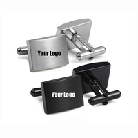 wholesale manufacturer gift box brand blank silver stainless steel custom logo cuff link cufflink for mens