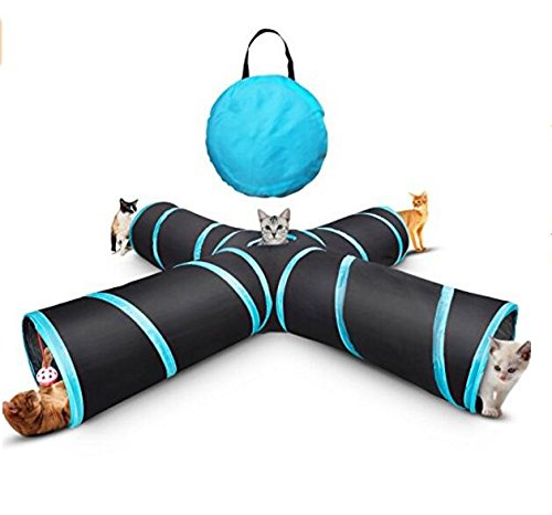 Pet Cat Tunnel, Cat Toys,Portable Tubes Collapsible, 4 Way Crinkle Cat Toy Cube&Storage Bag Catnip a Bell Toy for Large Cats Dogs Rabbits Indoor Outdoor Use